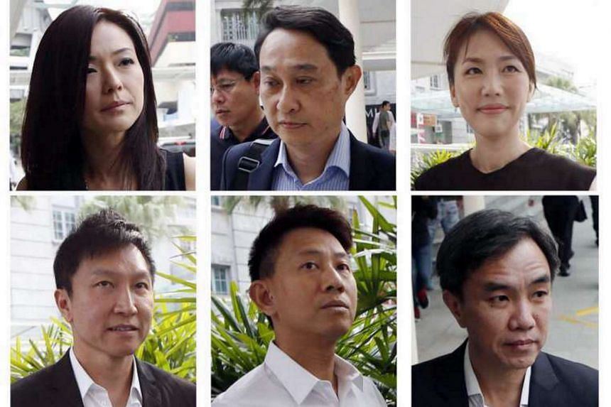 (Top row, from left to right) Serina Wee, Chew Eng Han, and Sharon Tan. (Bottom row, from left to right) Kong Hee, Tan Ye Peng and John Lam.
