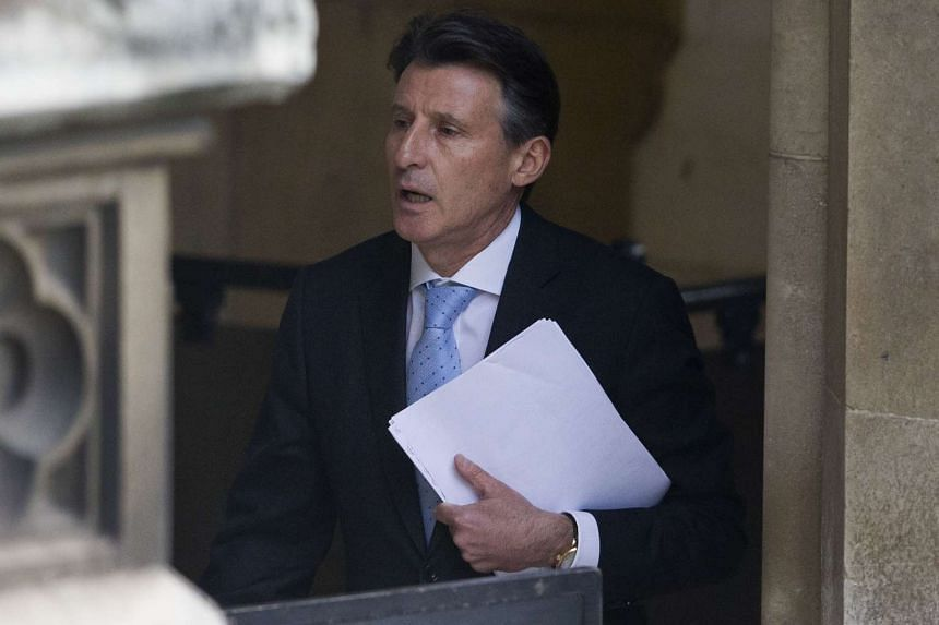 IAAF president Sebastian Coe arrives at the Houses of Parliament in London.