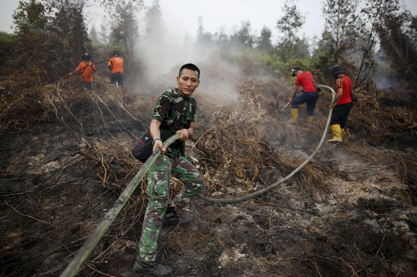 An Indonesian soldier helping firefighters spray water on a peatland fire in Pulang Pisau on Oct 29.