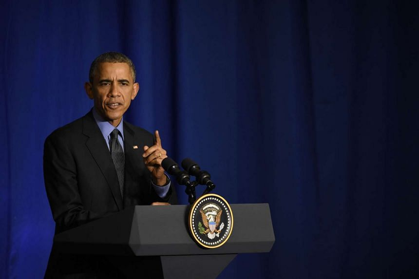 US president Barack Obama speaks during a press conference at the Organisation for Economic Co-operation and Development.