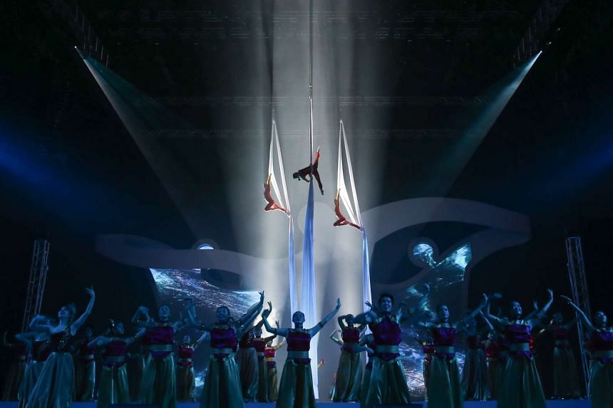 Aerialists and dancers, part of Movement Two of the Asean Para Games (APG) Opening Ceremony, rehearsing in the final run-through at the Singapore Indoor Stadium on 30 Nov 2015.