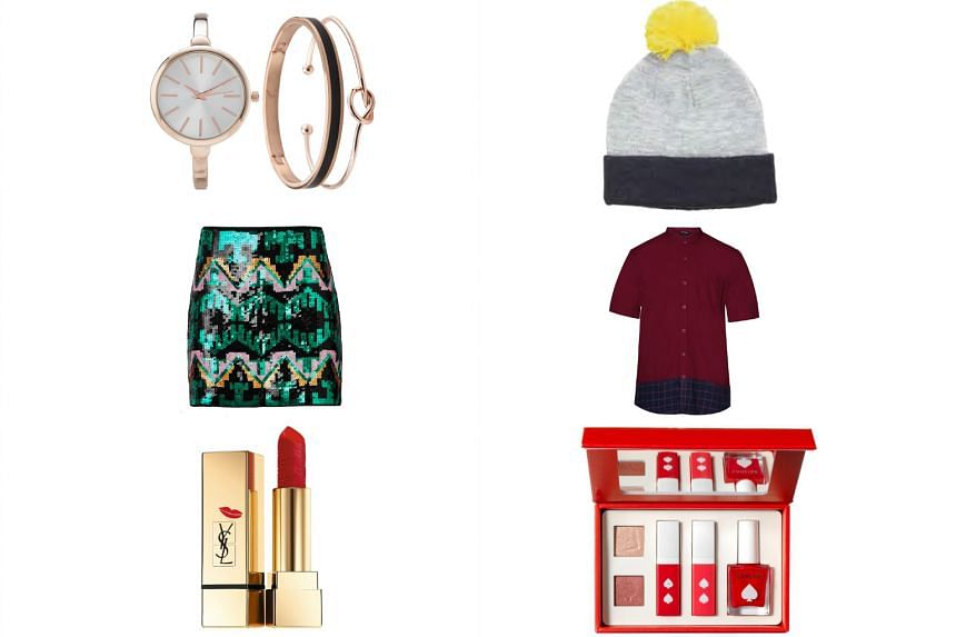 (Clockwise from top left) Knot bangle watch set, $29.90, from Zalora.sg; beanie, $26.90, from Topman; shirt, $34.90, from Zalora.sg; Laneige Spade Makeup Palette, $49; Yves Saint Laurent Beaute Kiss & Love Rouge Pur Couture, $49, and sequinned skirt,