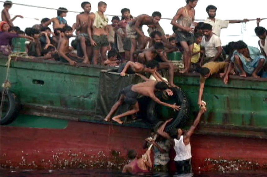The Rohingya refugees fleeing their homeland by boat in search of a new home.