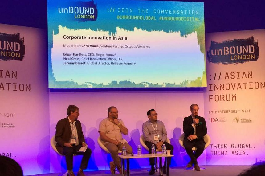 "The Asian innovation forum at Unbound London was part of the Infocomm Development Authority's effort to create ""some noise"" on Singapore's start-up landscape at key overseas events. Among the panel members was DBS Bank's Neal Cross (second from left)"