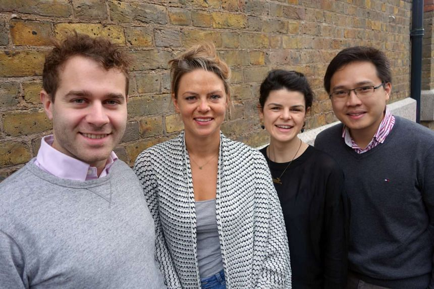 Members of British start-up Entrepreneur First (from left) Mr Alex Crompton, programme director, Ms Anne-Marie Droste, head of European outreach, and Ms Alice Bentinck, co-founder, with Mr Zach Tan, director of Infocomm Investments' London office.