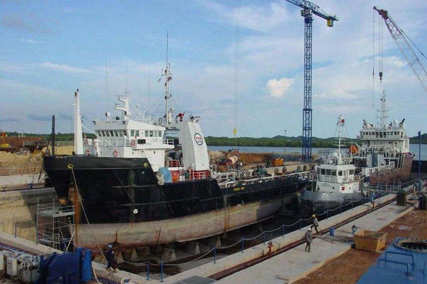 Marco Polo Marine's dry docks in Batam, Indonesia. The company is mired in a dispute with Sembcorp Marine over a rig construction contract.