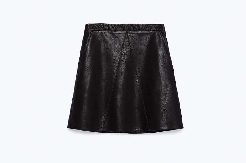 Faux leather black skirt, $59.90, from Zara.