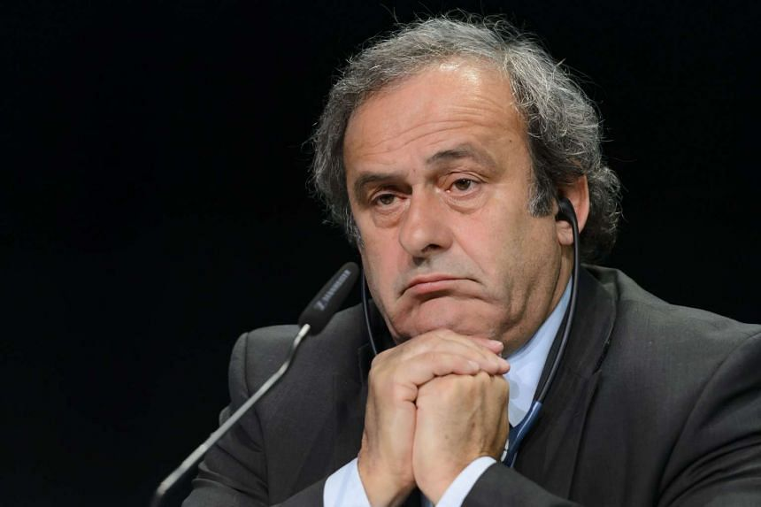 Michel Platini giving a press conference on May 28, 2015.
