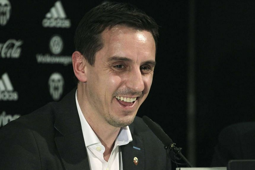 Valencia's new coach Gary Neville attends a news conference on Dec 3, 2015.
