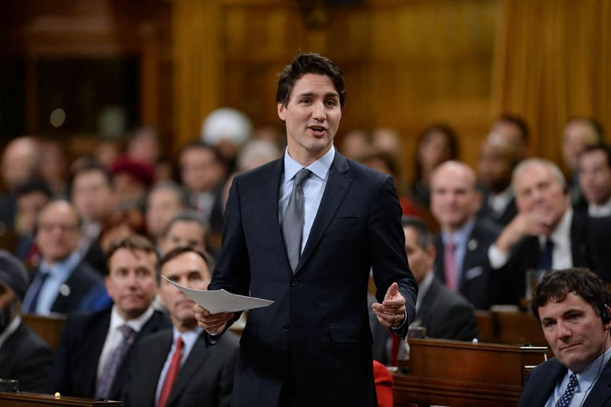 Justin Trudeau delivers a congratulatory speech on Parliament Hill in Ottawa, Canada.