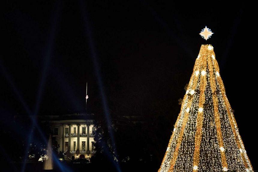 A view of the White House and National Christmas Tree from the Ellipse of the National Mall on Dec 3 in Washington, DC.