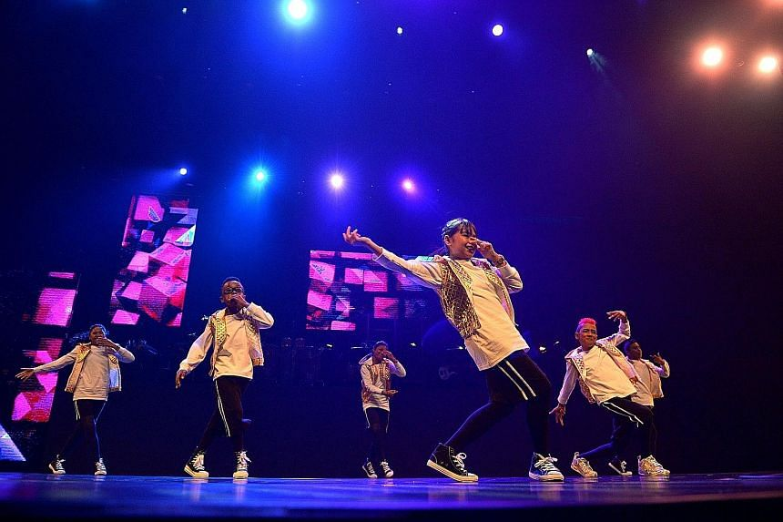 The Sugar Rush dance crew performing two songs - A World To Imagine by Iskandar Ismail and Paul Tan, and Hotline Bling by Drake - at the full dress rehearsal of the ChildAid charity concert last night. The concert will be staged at the Grand Theatre