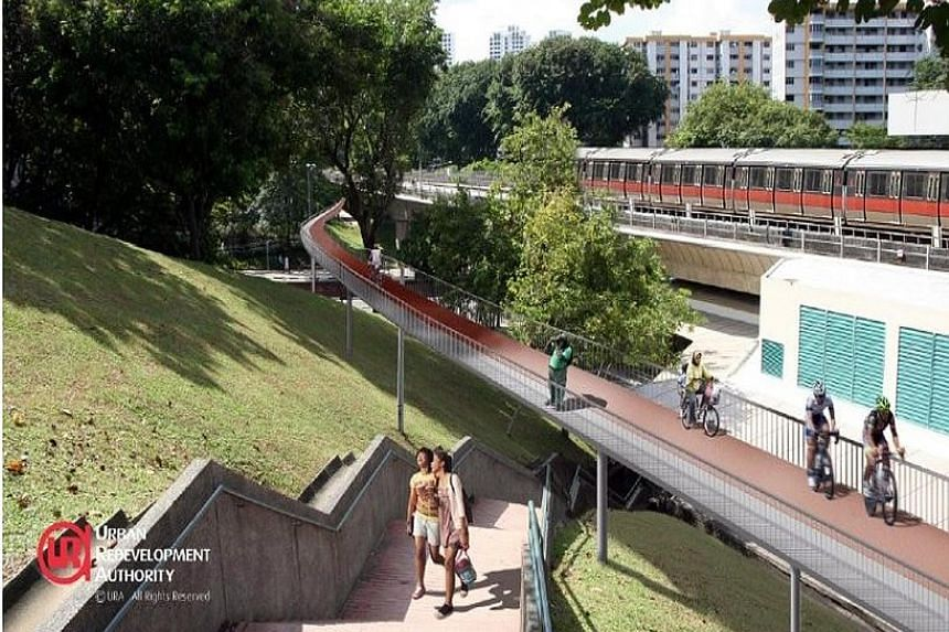 An artist's impression of the cycling path network in Ang Mo Kio. The first phase, which includes a 4km cycling path, is expected to be finished by next June.