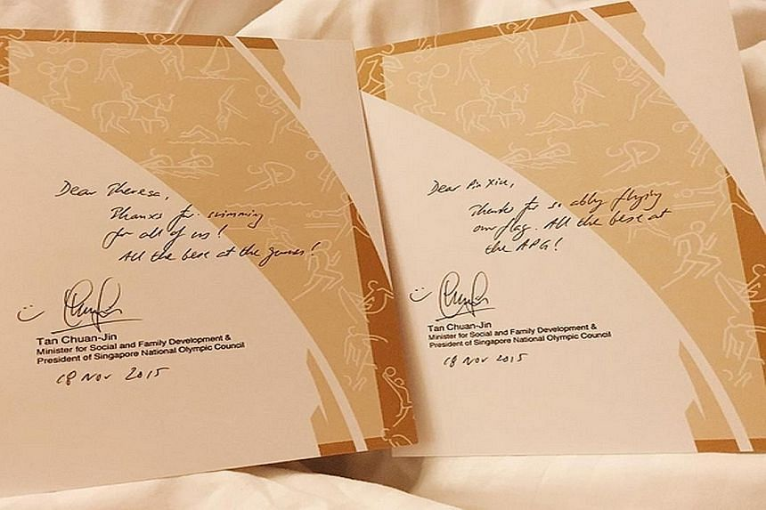 """Swimmer Yip Pin Xiu thanking Minister for Social and Family Development Tan Chuan-Jin for his handwritten letters: """"Minister Tan wrote letters to all 159 of us athletes. Thank you for your words of encouragement and support, sir! We'll do our best. #"""