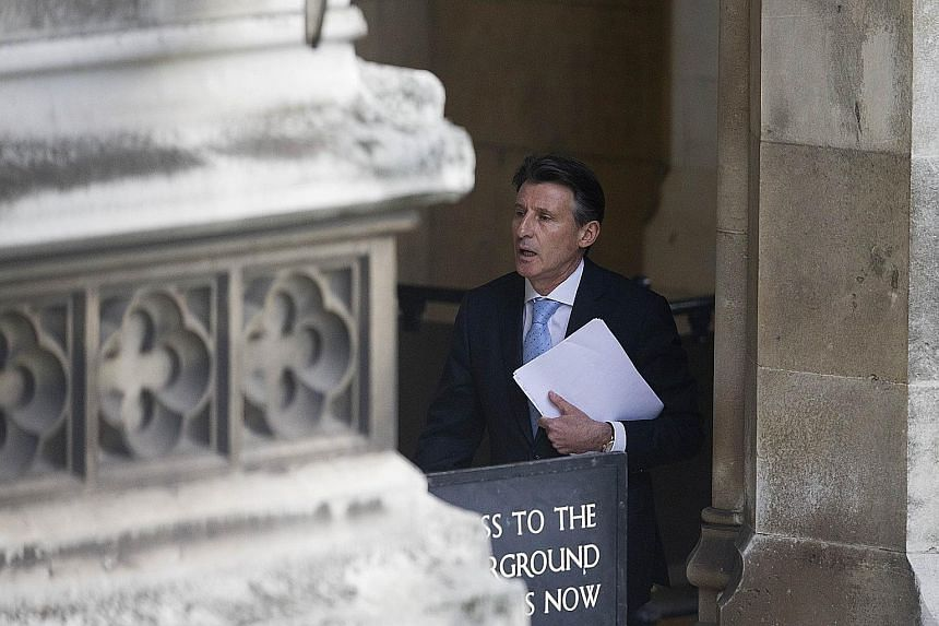 "IAAF president Sebastian Coe arriving at the Houses of Parliament in London on Wednesday to give evidence to the Culture, Media and Sport Committee of MPs on blood doping in athletics. He has vowed to guide the body ""back to trust"" after a series of"
