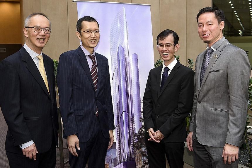 UEM Sunrise CEO Anwar Syahrin Abdul Ajib (second from left) and chief operating officer Raymond Cheah (far right) with Ascendas Hospitality Fund Management CEO Tan Juay Hiang (second from right) and head of asset management Bernard Teo at the signing