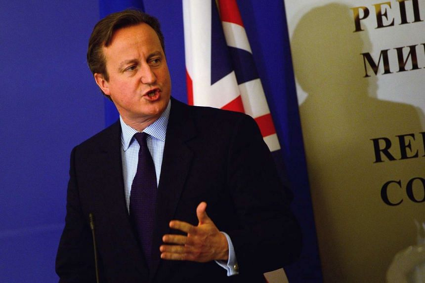 British Prime Minister David Cameron at a press conference in Bulgaria.