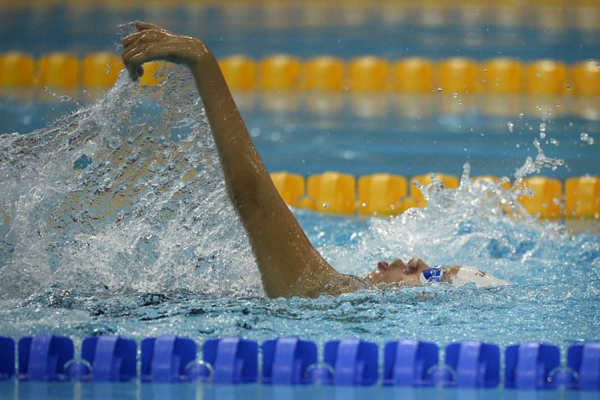 Backstroke swimmer Yip Pin Xiu of Singapore in action during the 100m Freestyle S5 (S1-S5) Timed Final at the 8th ASEAN Para Games held on Dec 4.
