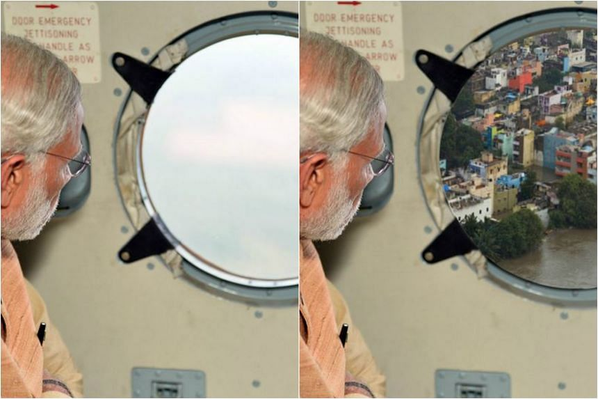 The real image (left) compared to the edited one (right) of Indian PM Narendra Modi gazing out of a helicopter window.