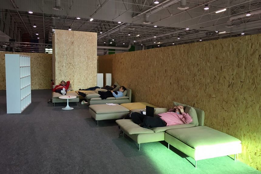 From bread to beds, France has tried to make the facilities as comfortable as possible with cosy cafes, relaxation rooms (above) and art installations.