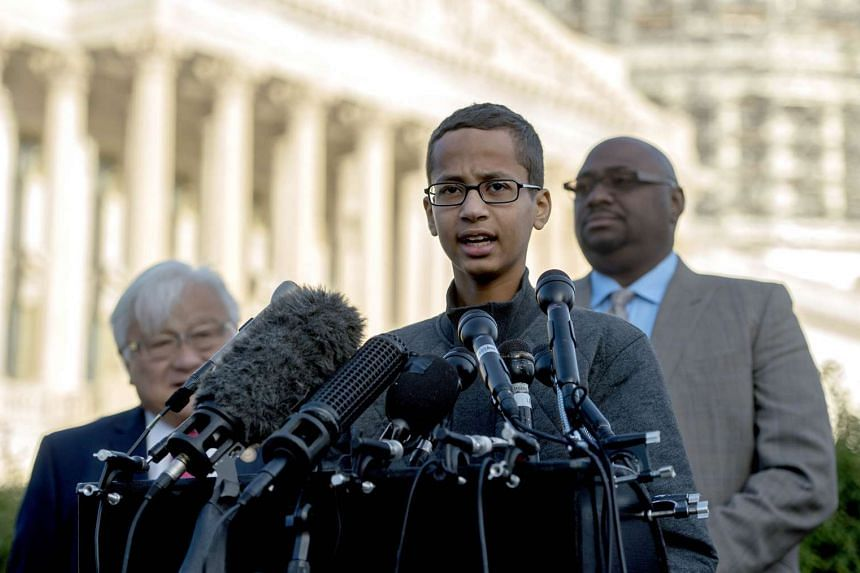 Ahmed Mohamed speaking at a press conference in Washington, DC, on Oct 20.