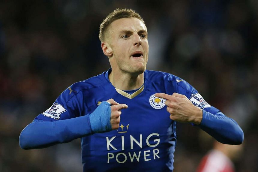 Jamie Vardy celebrates scoring a goal for Leicester City on Nov 29, 2015.