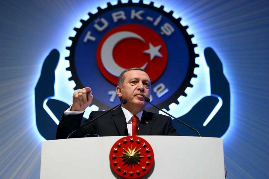 Turkey's President Tayyip Erdogan during a meeting in Ankara, Turkey on Dec 3, 2015.