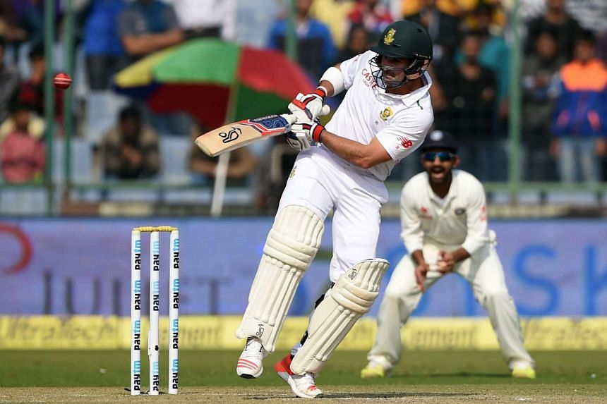 South Africa's Dean Elgar playing a shot during the second day of the fourth Test cricket match against India at The Feroz Shah Kotla Stadium in New Delhi on Dec 4.