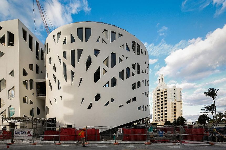 Miami Beach's Faena House; a guestroom in Faena Hotel; and the upcoming Faena Forum (above).