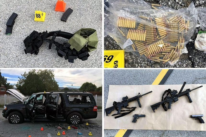 A composite photo made available by the San Bernardino County Sheriff shows weapons and ammunition carried by the suspects involved in the mass shooting at San Bernardino. The suspects, who died in a shoot-out with police, were husband and wife Syed