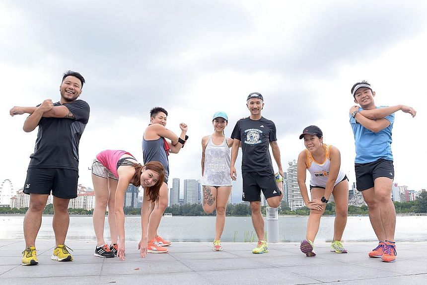 Members of the High Panters during training at the Sports Hub. They are a group of local runners who will be taking part in the Standard Chartered Marathon tomorrow to raise funds and awareness for the Alzheimer's Disease Association Singapore. They