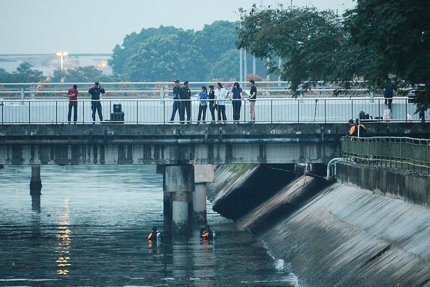 Police searching in East Coast for evidence during investigations. An area outside the National Sailing Centre was cordoned off as well for the search, which lasted about five hours. Divers were also seen scouring the waters. Iskandar Rahmat had clai