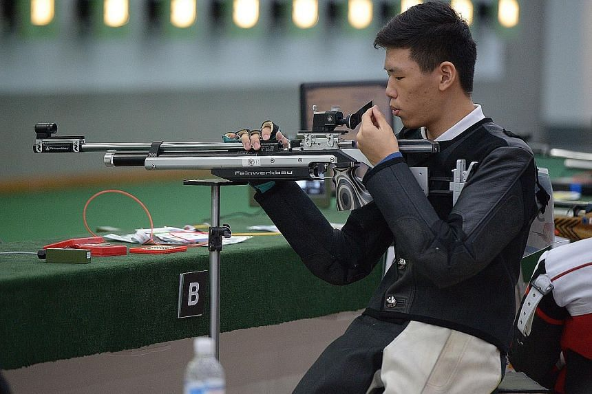 Ritchie Chan was leading the R1 10m Air Rifle Standing Men SH1 competition at Yishun Safra but had two poor shots right at the end.
