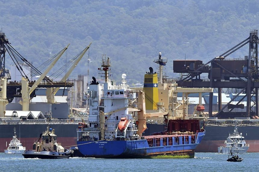 A ship transporting reprocessed nuclear waste arriving at Port Kembla in New South Wales on Dec 5.