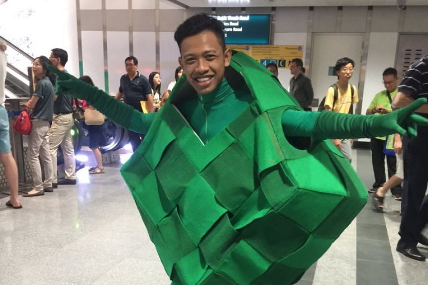 A performer dressed as a Ketupat at the Downtown Line 2 Open House.