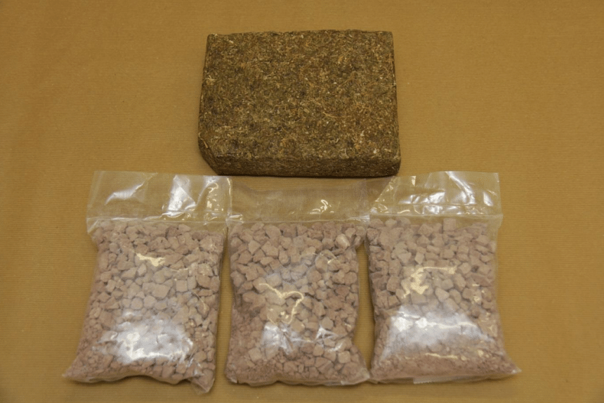 Officers found 1.4kg of heroin and 1kg of cannabis.