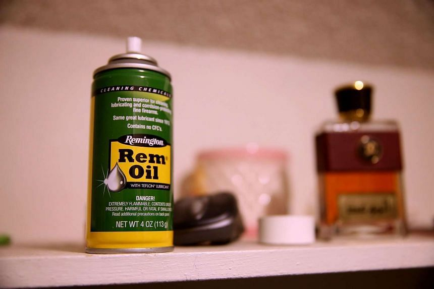 A can of gun oil sits in a bedroom closet.