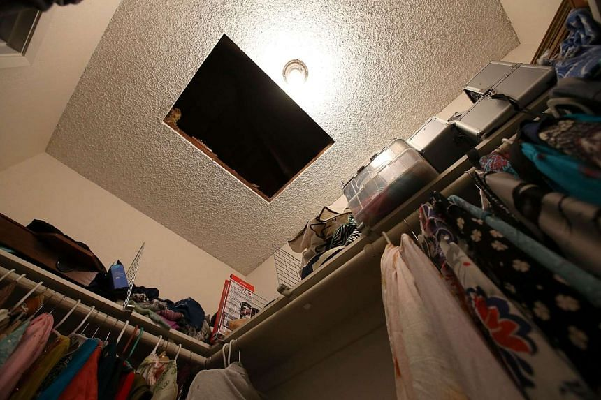 A hole in the ceiling is visible in a bedroom closet.