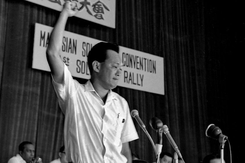 Mr Lee Kuan Yew speaking at a rally held at the National Theatre on June 6, 1965.