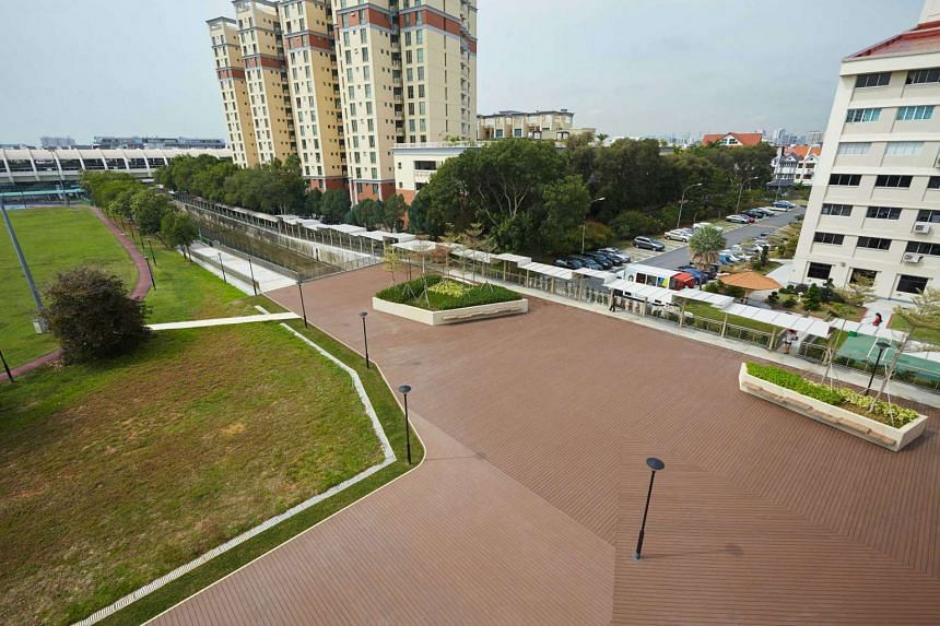 The plaza was decked over a 150m section of the Siglap Canal.