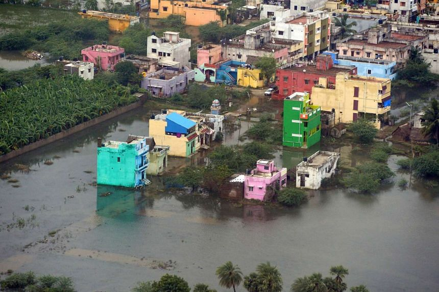An aerial view of a flooded area in Chennai.