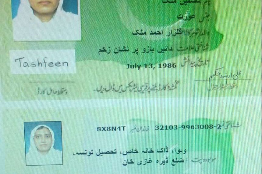 The Pakistan identification card of Tashfeen Malik is shown in this undated handout picture from a government official and obtained by Reuters on Dec 5, 2015.