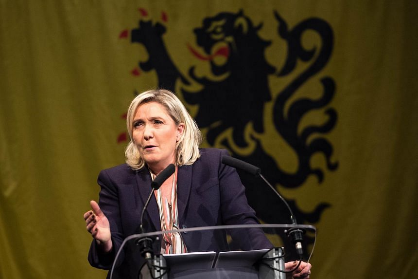 Marine Le Pen, leader of the French far-right Front National party, gives a speech during her campaign rally.
