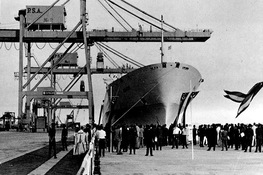 Mr Toh Kok Tia (top) was a supervisor overseeing the unloading of the containers from the MV Nihon from Rotterdam (above) when it docked here in 1972. The ship, carrying a cargo of 300 containers, was the first container vessel to dock at the Tanjong