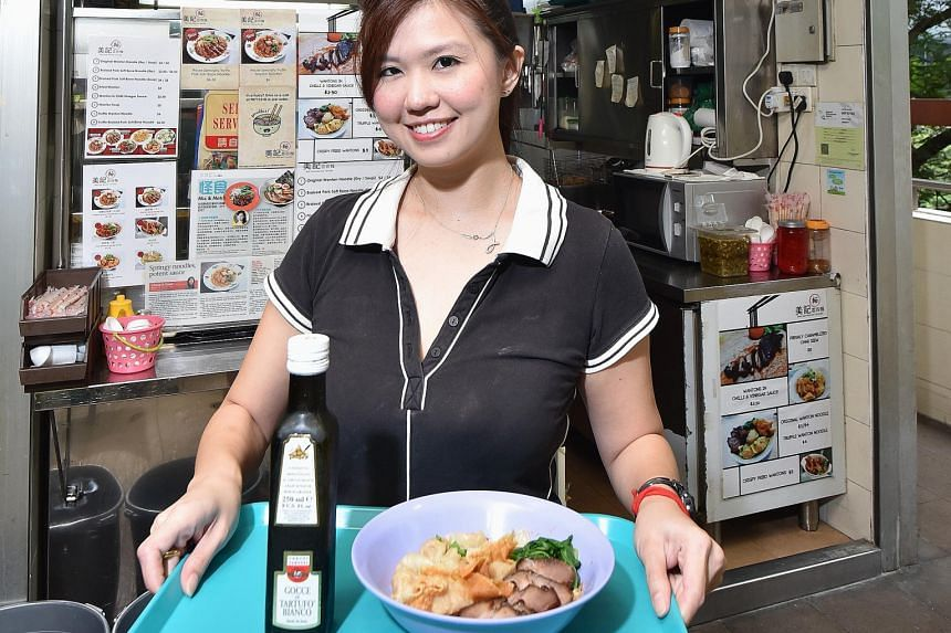 Bee Kee Wanton Noodles' owner Jo Ann Ng (above) with her truffle wonton noodles; and McDonald's Truffle Flavoured Shaker Fries.