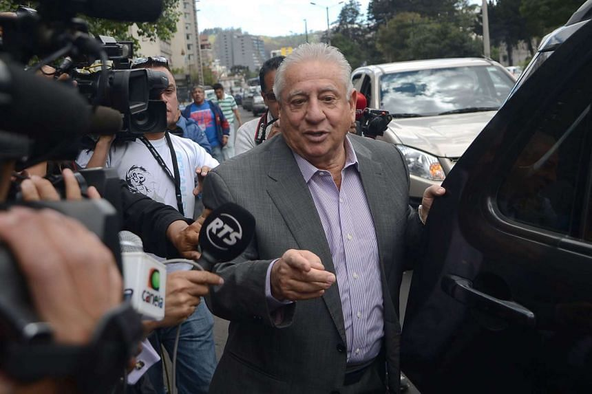 Chiriboga arrives at a court in Quito on Dec 4, 2015.