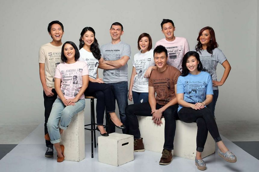 Editor Warren Fernandez (fourth from left) with journalists (from left) Yeo Sam Jo, Yasmine Yahya, Olivia Ho, Pearl Lee, Daryl Chin, Jermyn Chow, Rebecca Lynne Tan and Melody Zaccheus in T-shirts featuring ST's coverage of significant events.