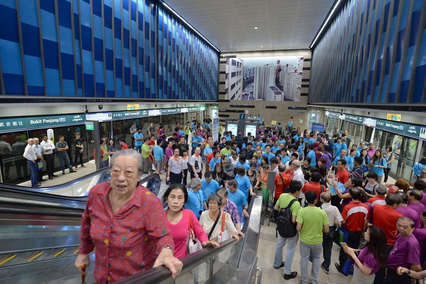 The Bukit Panjang station was packed with commuters enjoying the free travel on offer.
