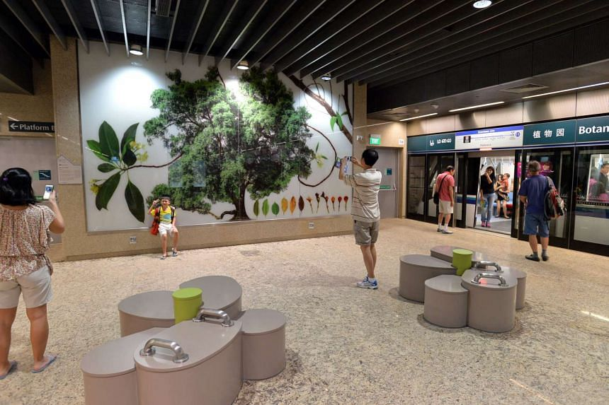 The second phase of the Downtown Line opened for a public preview yesterday. Among the highlights the public could enjoy was a photo exhibition at the Botanic Gardens station.