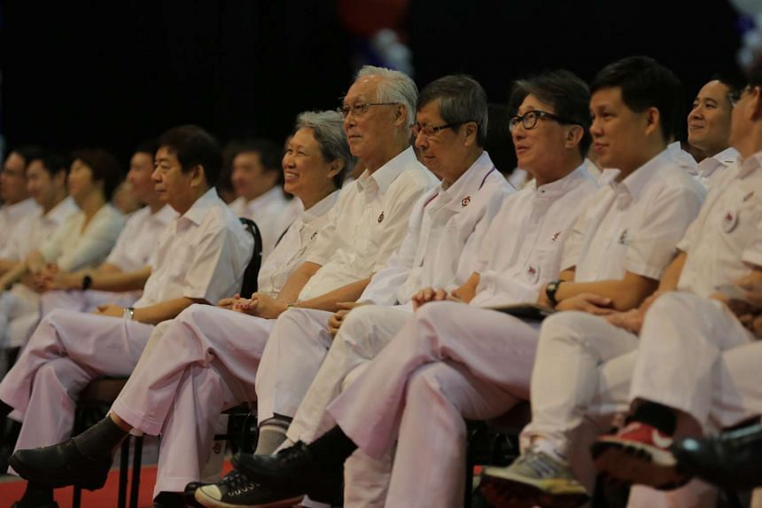 Party leaders and members at the PAP Convention 2015 at the Singapore Expo.